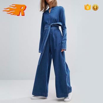 14eeadadb340 Custom Manufacture Jeans Cropped Wide Leg Sexy Overalls Jumpsuit Denim