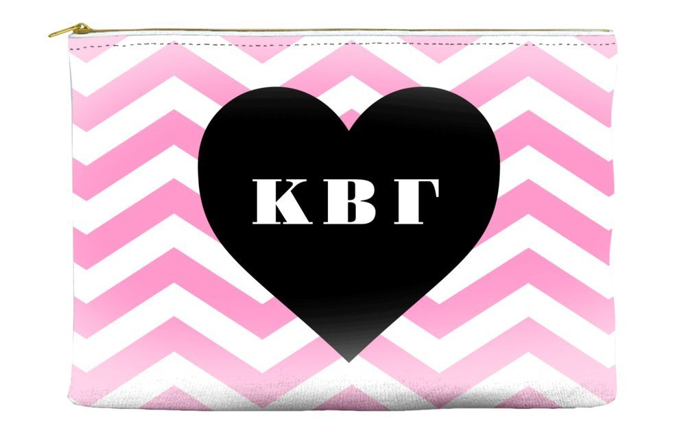 Kappa Beta Gamma Chevron Heart Pink Cosmetic Accessory Pouch Bag for Makeup Jewelry & other Essentials