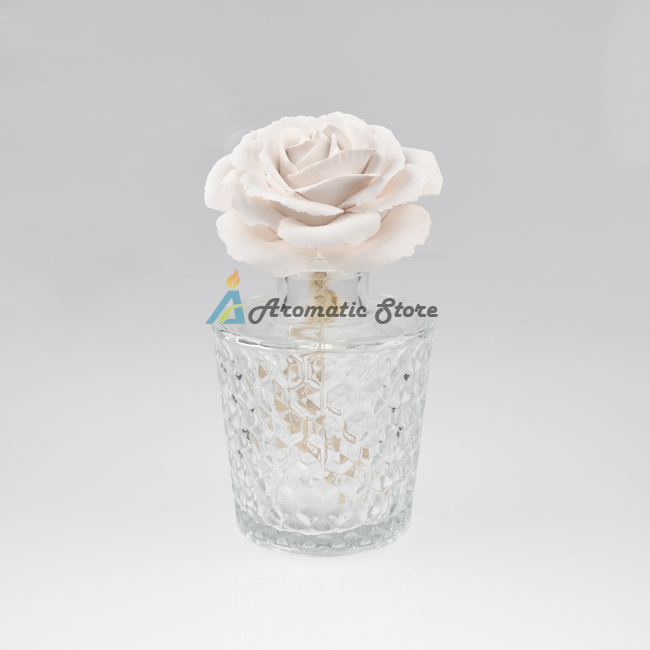 transparent glass bottle reed diffusers with ceramic flower