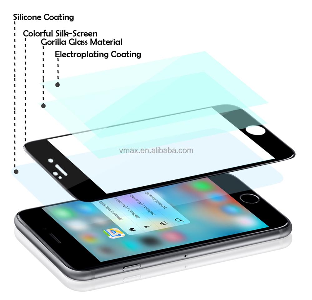 VMAX 9 H 3D dureza protector de pantalla del teléfono móvil para el protector de pantalla de vidrio templado de iphone 7