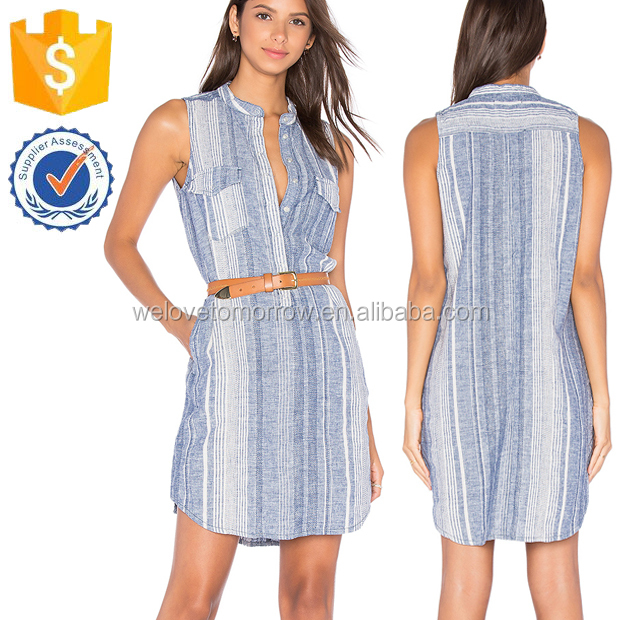 Sleeveless Summer Blue Spite Button Up Shirt Dresses For Ladies Manufacture Wholesale Fashion Women Apparel (TF0718D)