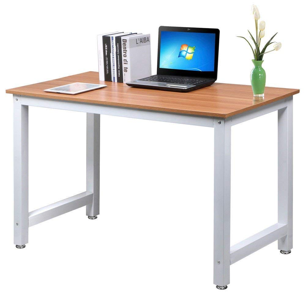 GJH One Computer Desk Table Workstation Office Study PC Laptop Wood Home Furniture Brown 47''