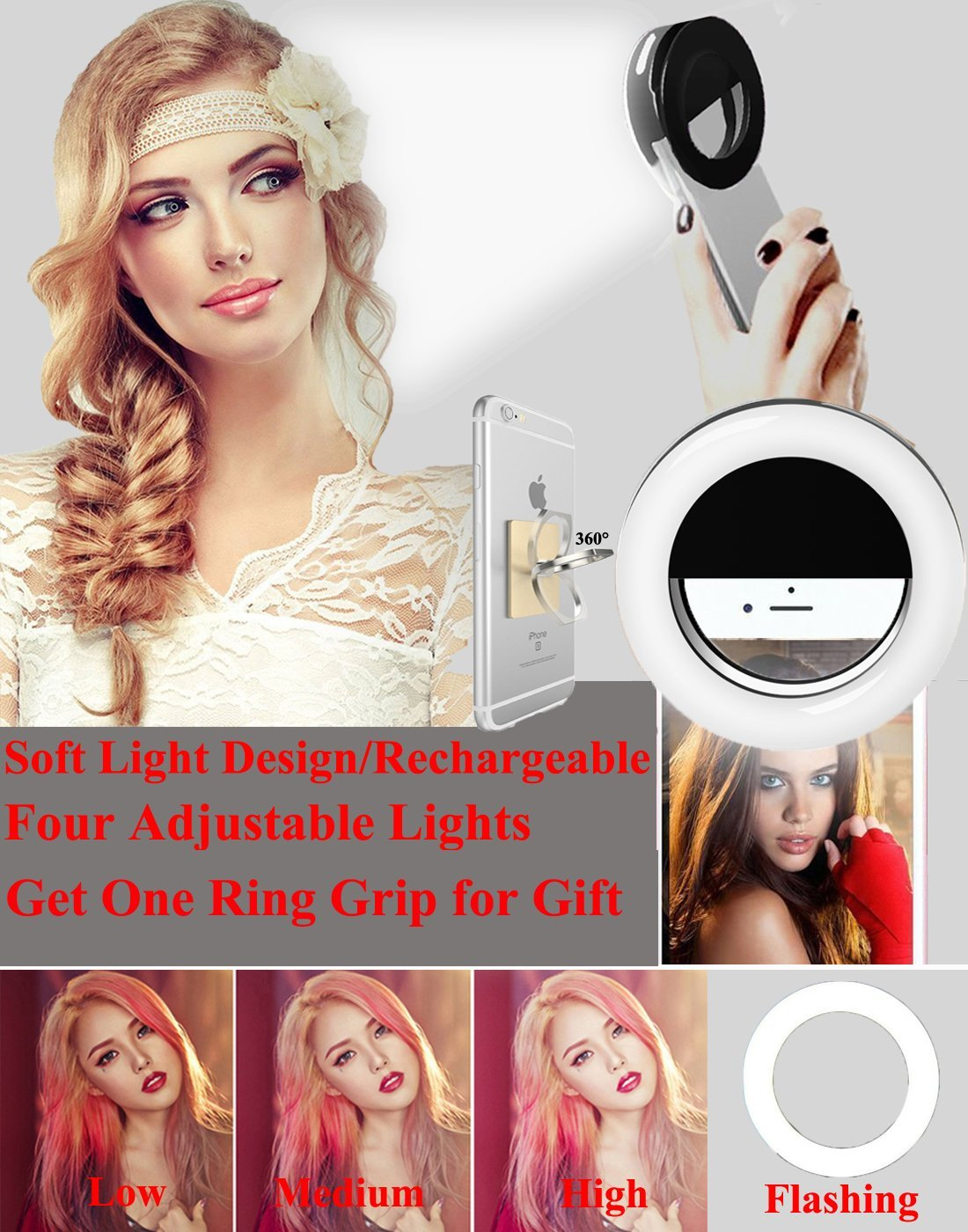 Makeup Ring Light,Werleo Rechargable Camera Flash Fill Light Dimmable Selfie Ring Lighting Clip on Photography Light [36 LED]&Cell Phone Ring Grip Holder for iPhone Macbook iPad Sumsung Galaxy Tablet