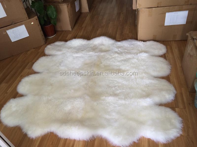 Lamb Skin Rug Shaggy Fur White