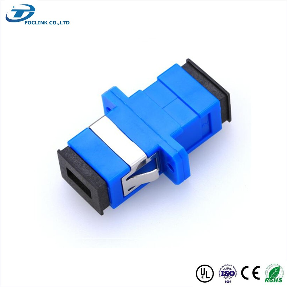 SC PC/UPC SM SX Blue Plastic Adapter With flange