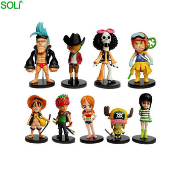 Hot Japanese anime cartoon one piece figure toys set of 9