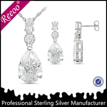 China wholesale 925 silver jewelry set, tear drop stud earring pendant