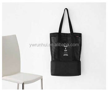 New design hot selling shopping mall food packing and daily life foldable mesh shopping bags