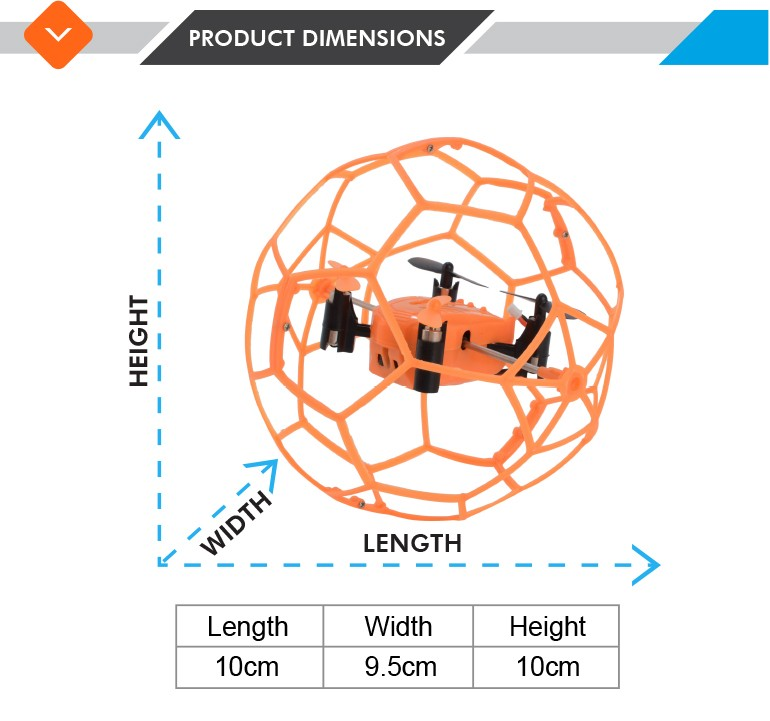 2017 new arrivals 2.4g 4-axis ufo aircraft quadcopter with football frame