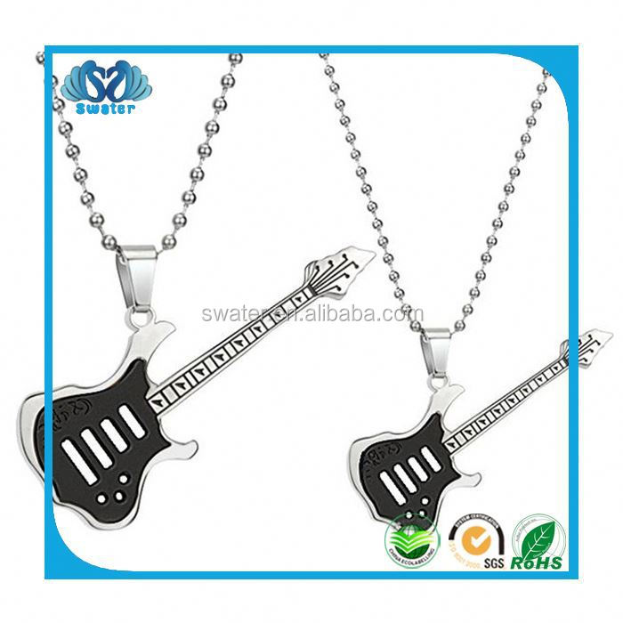 Custom Silver Jewelry Guitar Pick Necklace