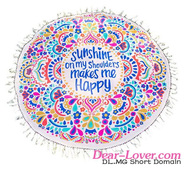 Hot Sale Sunshine Happy Round Beach Towel Blanket Oem Swimwear Manufacturing
