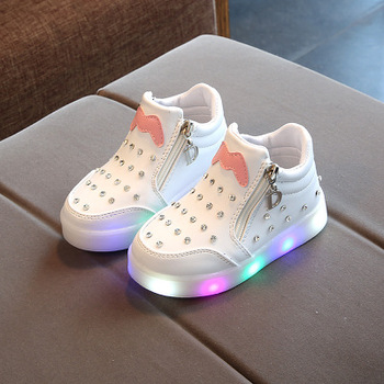 fbcf5ed946be Lovely Princess Boys Girls Boots Cartoon Children Shoes Casual Fashion LED  Light up Baby Kids Sneakers