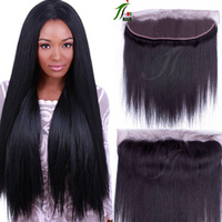 8A Virgin Brazilian Hair Full Lace Frontal Closures 13x4 Straight Human Hair Ear To Ear Lace Frontal Bleached Knots