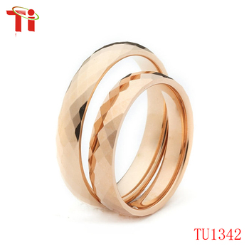 Faceted Tungsten Latest Wedding Ring Designs Indian Gold Plated