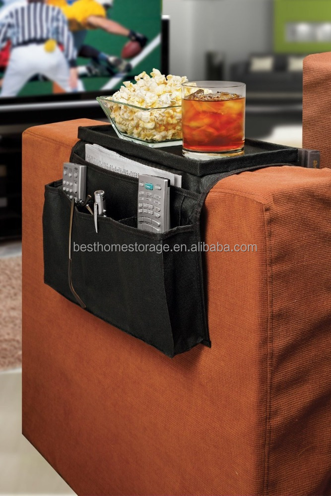 TV Remote Control Organizer Holder, Drapes Over Sofa Arm-5 Pockets Couch Organizer Use for Remote Controls, Game Controller