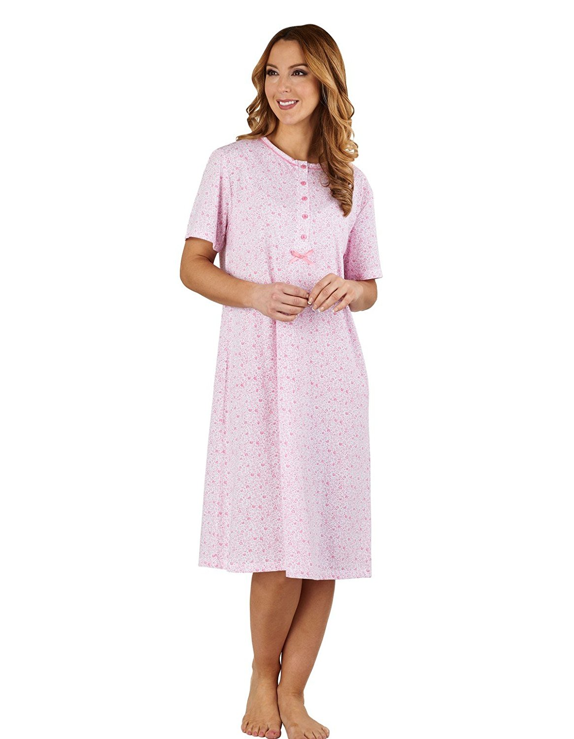 Get Quotations · Slenderella ND1102 Women s Ditsy Floral Pink 100% Cotton  Jersey Nightdress ece9bafc3