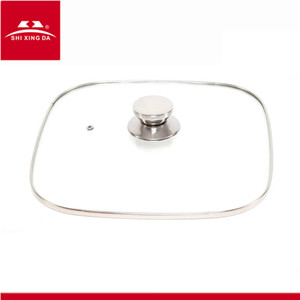 square C type tempered glass lid for frying pan