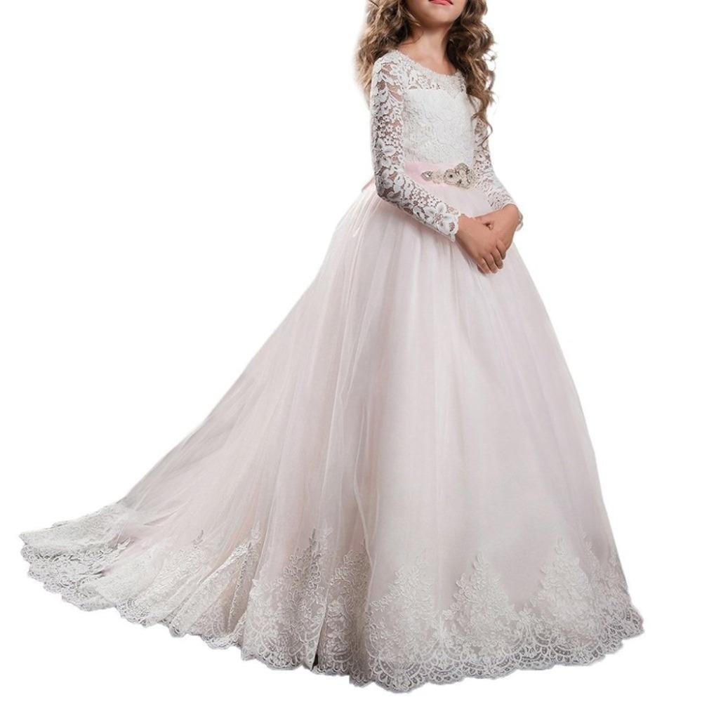 2018 Hermosa Vestidos De Primera Comunión Para Niñas De Manga Larga De Las Niñas Vestido De Bolavestido De 2 12 Años Rosa De Las Muchachas De Flor