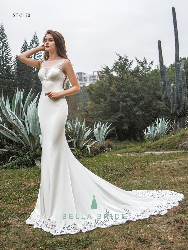Custom Made Luxury Crystal Satin Mermaid Bridal Wedding Dresses ...