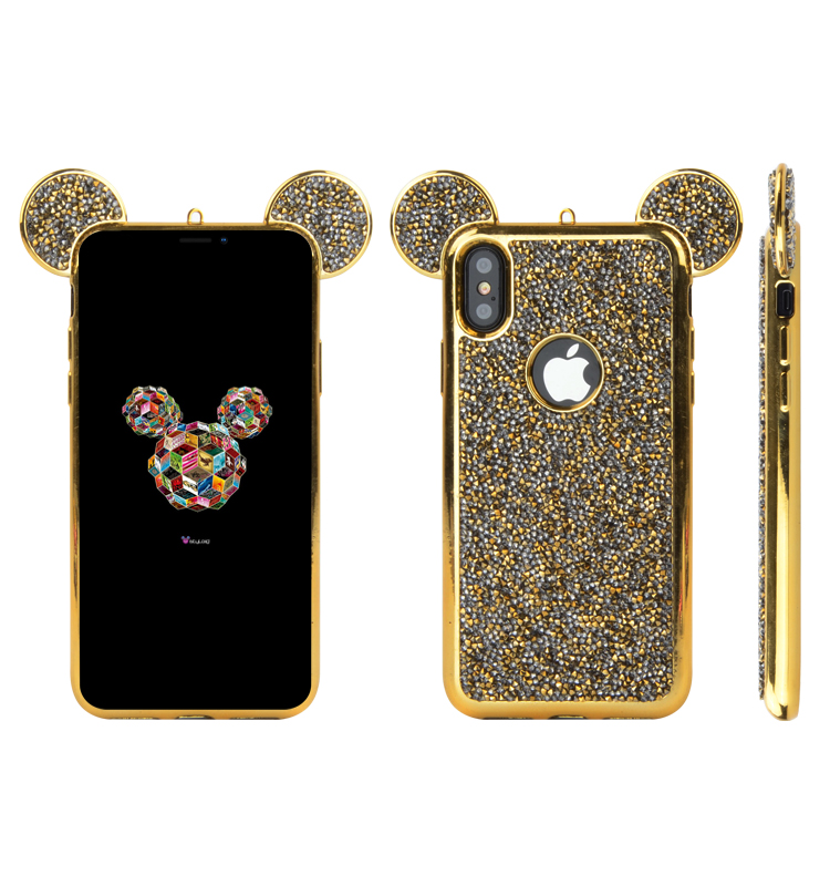 new arrivals 2018 wholesale phone accessories rock diamond MC cases cover for iPhone x TPU