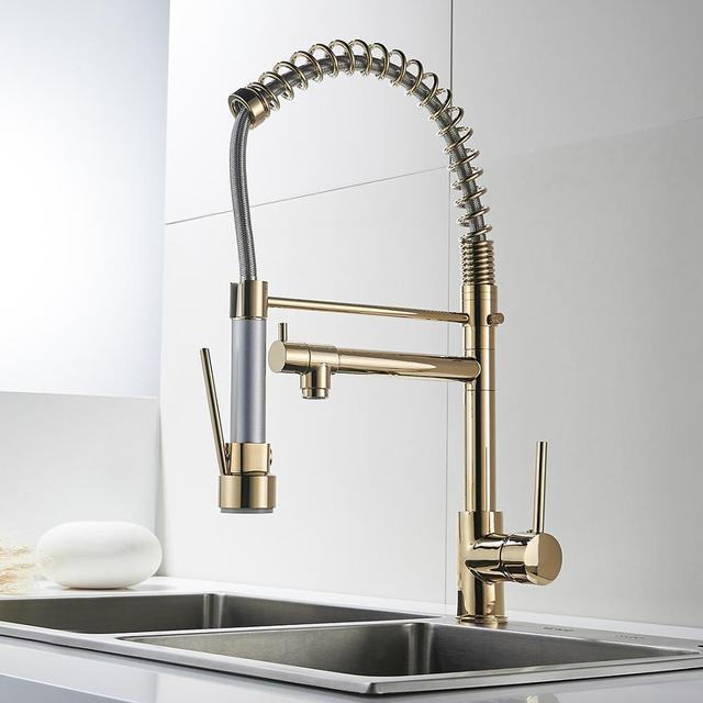 UPC 2 Hole Deck Mounted Kitchen Faucet Pull Out