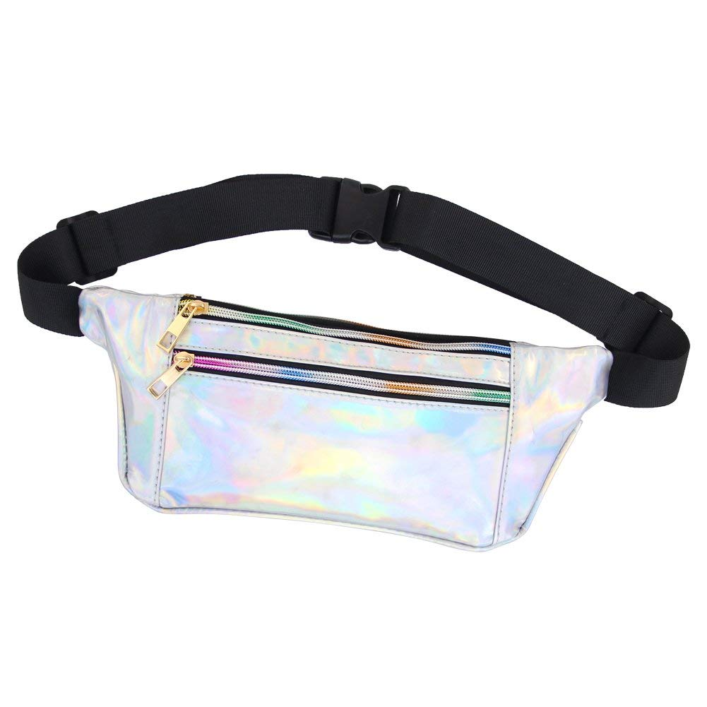 MHJY Holographic Fanny Pack Waist Pack for Women Waist Bag Bum Bag Belt Bag for Rave,Festival,Travel,Party,Trip