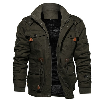 Men Thermal Casual Fleece Lined Bomber Jacket Military Tactical Winter Coat Multi-Pocket Jacket