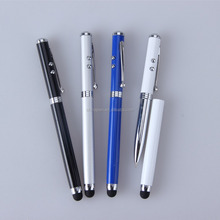 Top sale multi-function laser metal pen 4 in 1 screen touch metal pen with led light