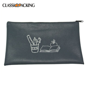 Customization logo printed soft touch zipper beautiful cosmetic bag promotional pencil pouch