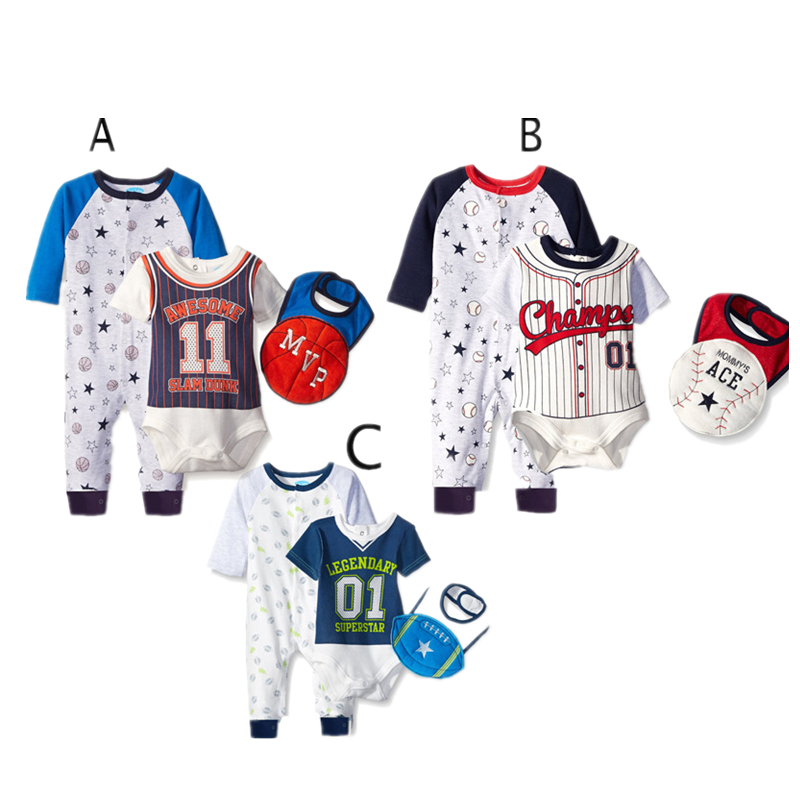Good quality cotton sport baby boys rompers 3 pieces set alibaba kids wear