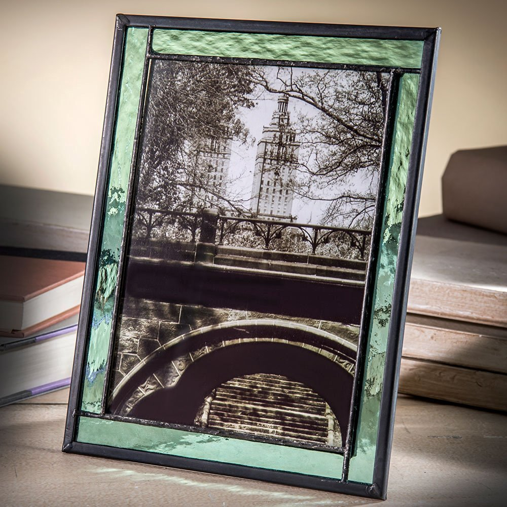 J Devlin Pic 364-57HV Green Stained Glass Picture Frame Tabletop 5 x 7 Photo Easel Back