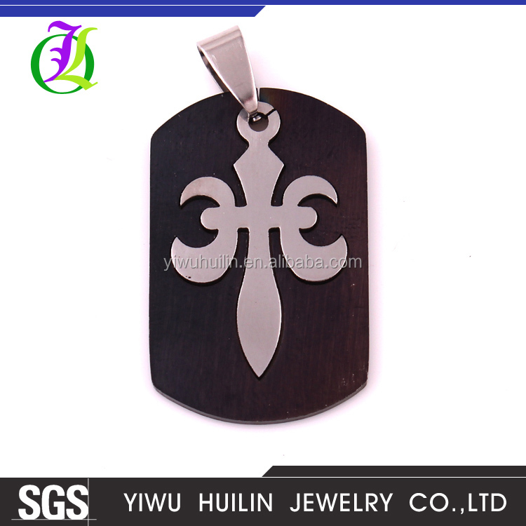 IMG 3092 Yiwu Huilin Jewelry Polished Square Stainless Steel A brave man's sword customized necklace pendants