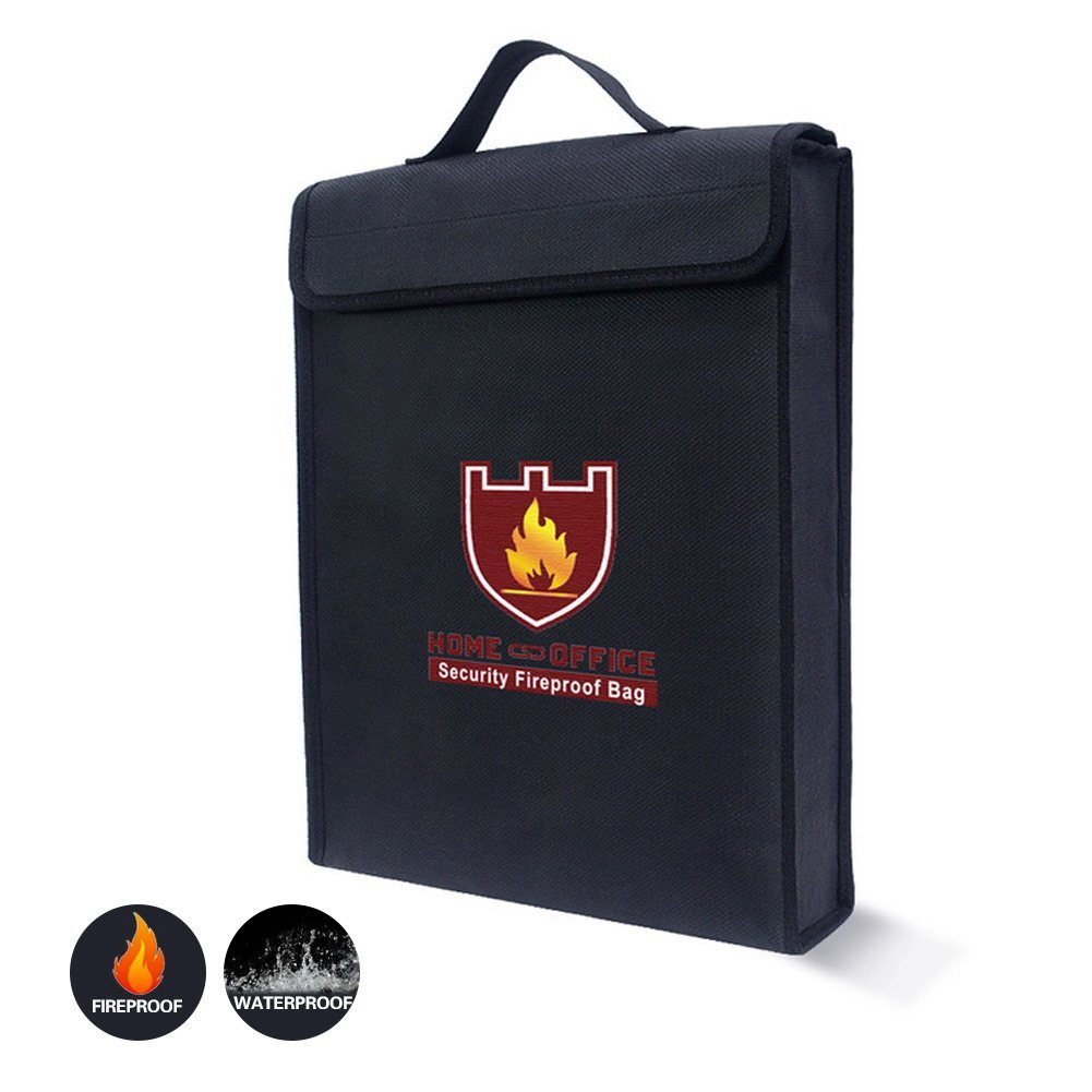 "Fireproof Document Bag, Double-sided Black Fireproof & Waterproof File Fireproof Safe Storage Bag, RFWIN Fire Resistant Accessories for Home, Office (15""x12""x3"")"
