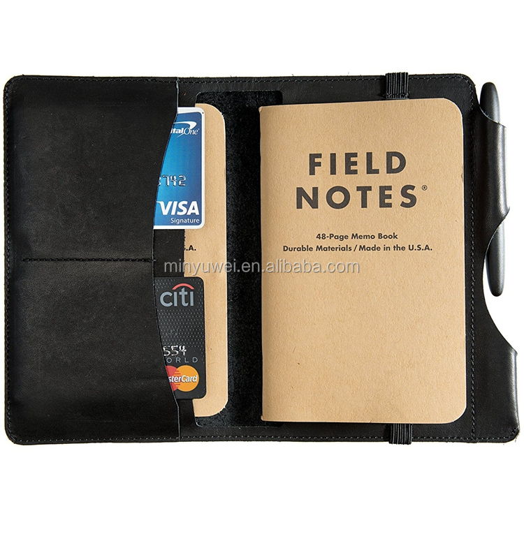 black cool notebook covers with credit card holder genuine leather journal covers with pen loop