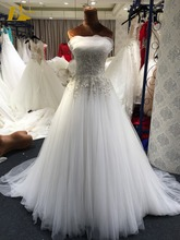 Vestidos de Novia Strapless Beaded Lace Appliqued Tulle A Line Wedding Dress Bridal Gown
