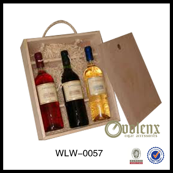 Slid Lid Pine Wooden Wine Box 3 Bottle with Hays