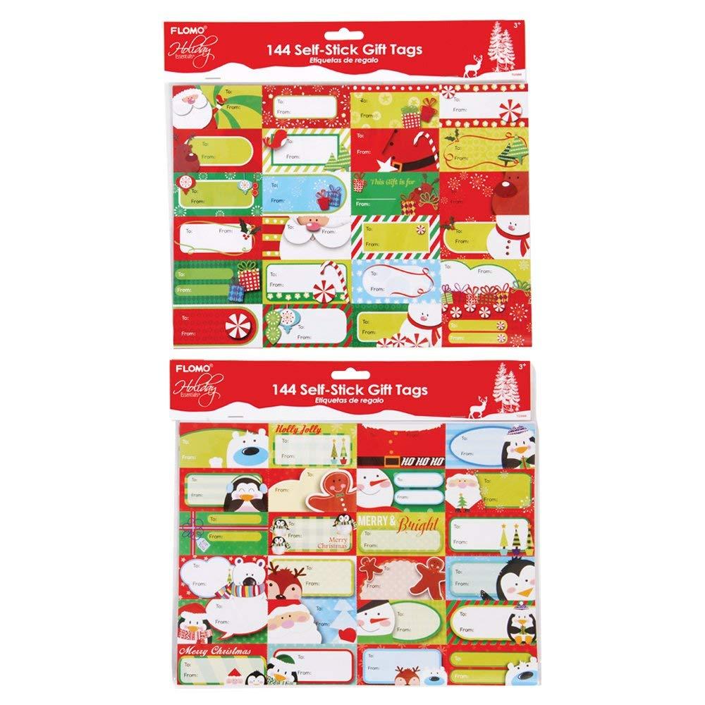 FLOMO Christmas Whimsical Holiday Gift Tag Stickers (2 Packs) christmas gift tags, christmas gifts, gift tags, christmas tags, xmas, christmas gift tag stickers, christmas present gift tags