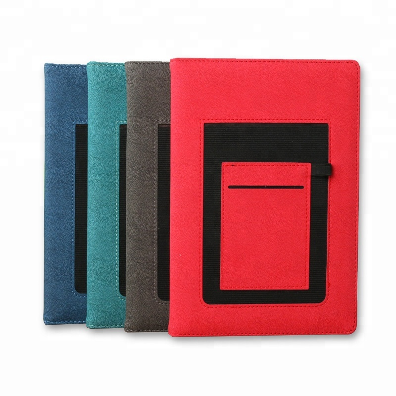 Faux leather cover card pocket notebook with pen holder