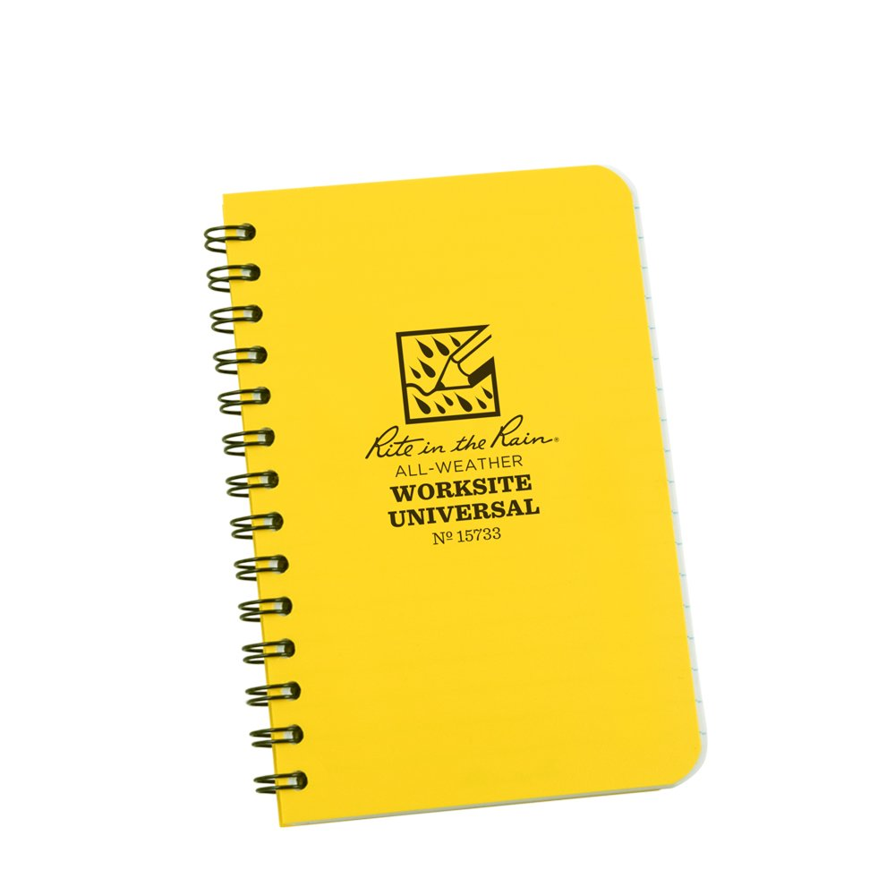 """Rite in the Rain All-Weather Worksite Side-Spiral Notebook, 3 1/2"""" x 5"""" Yellow Cover, Worksite Universal Pattern (No. 15733)"""