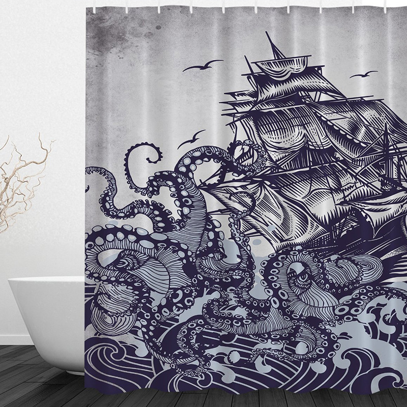 Sail Boat Waves And Octopus Old Look Home Textile European Style Bathroom Decoration Luxurious Cozy Lovely Shower Curtain 021