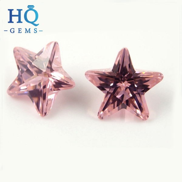 Fancy Cut Star Shaped Pink Colored Fire CZ