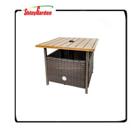 High Quality Outdoor With Umbrella Hole wooden tabletop rattan/wicker Side Table