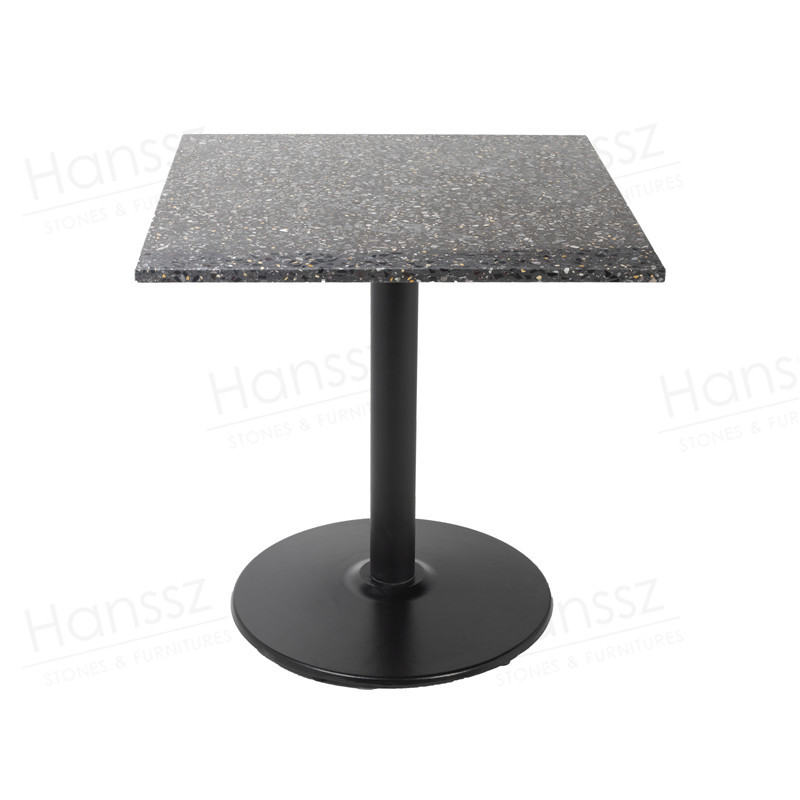 <strong>Square</strong> Modern Terrazzo Restaurant <strong>Dining</strong> <strong>Table</strong> With Iron <strong>Table</strong> Base