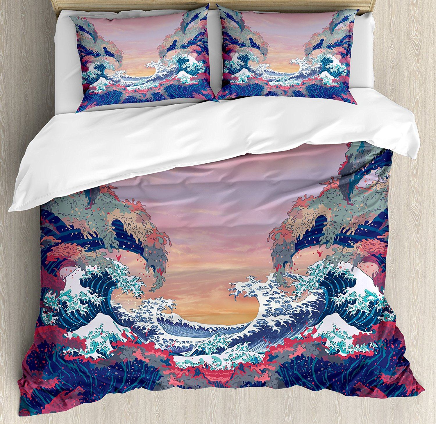 Ambesonne Modern Duvet Cover Set King Size, Colorful Fantasy Sea Waves Ocean Modern Fictional Nautical Magic Artsy Illustration, Decorative 3 Piece Bedding Set with 2 Pillow Shams, Multicolor