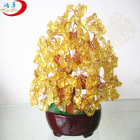 Fengshui natural citrine quartz crystal money trees,dropping willow shaped crystal lucky money