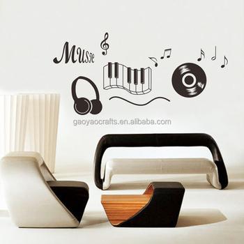 Musique Autocollant Casque Theme Musique Chambre Decor Danse Musique Note Autocollant Mural Amovible Adesivo De Parede Decoration Des Chambres Buy