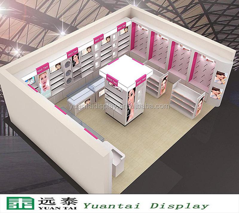 Retail Store Design Job Description: Wooden Shelves Design For Makeup Interior Store Cosmetic