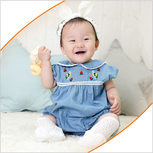 W40191K 2016 widely baby cotton ramper with flower collar