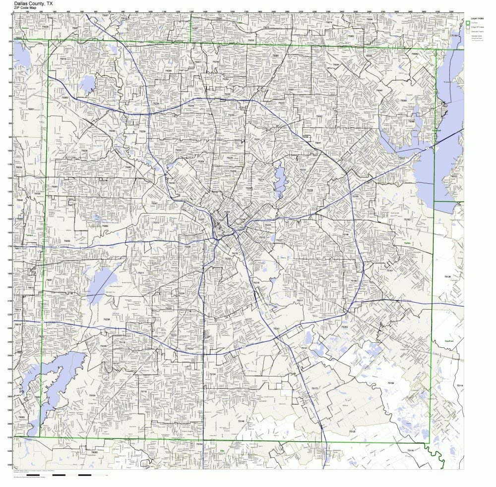 Buy Johnson County Texas Tx Zip Code Map Not Laminated In Cheap