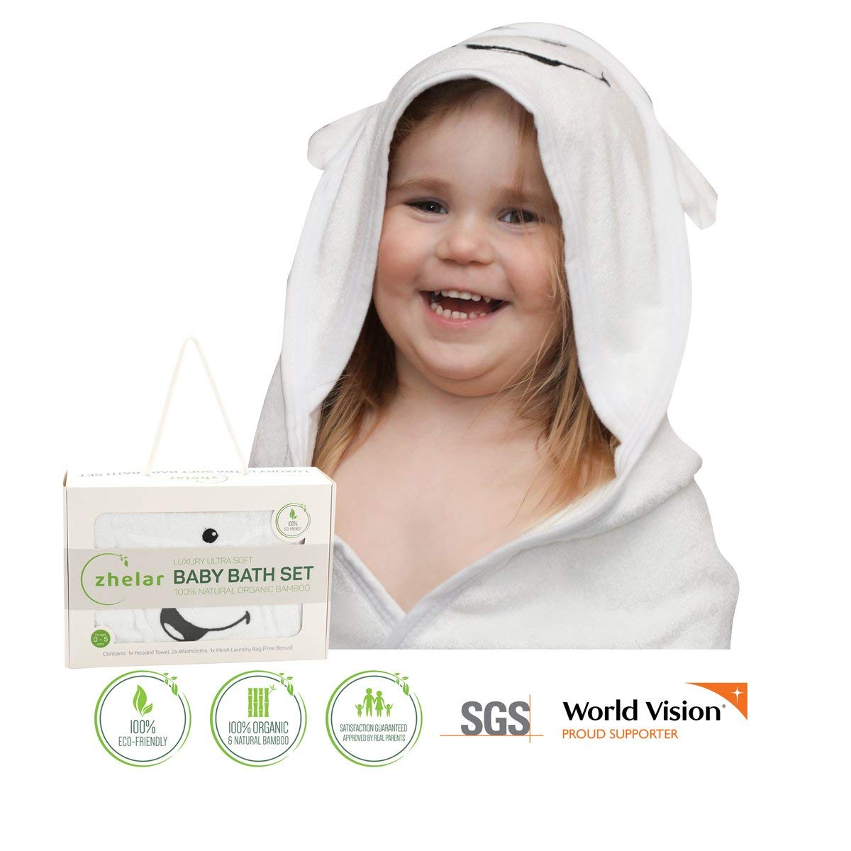 Large Ultra Soft Baby Bath Towel with Hood, 2 Washcloths & Laundry Bag | Natural Organic Bamboo | Keep Newborns, Infants, Toddlers Warm & Cosy | Perfect Registry & Shower Gift | White + White